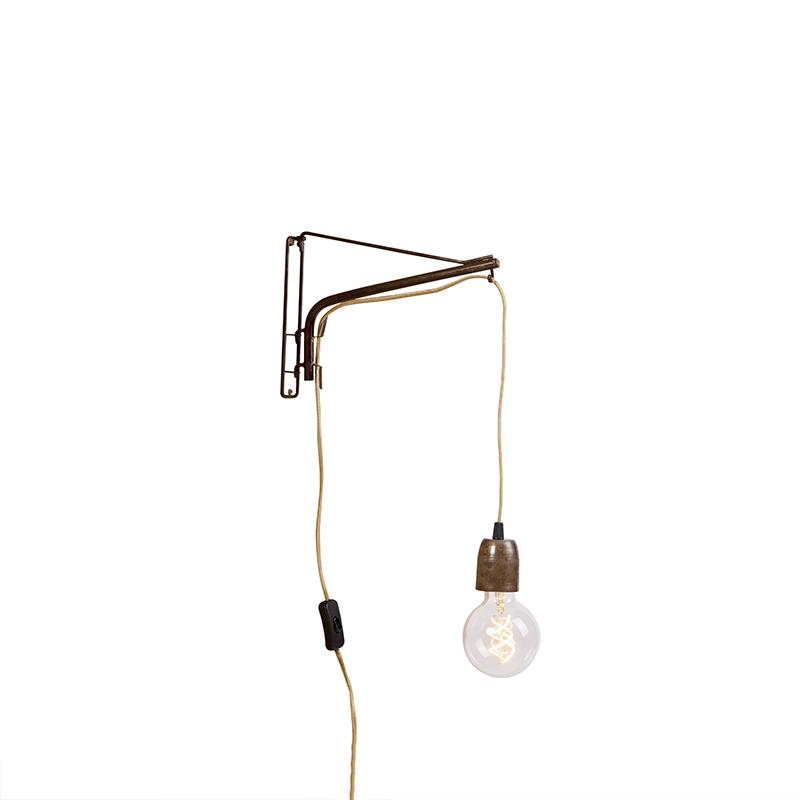 Vintage verstelbare wandlamp 30cm roest met jute snoer - Hook