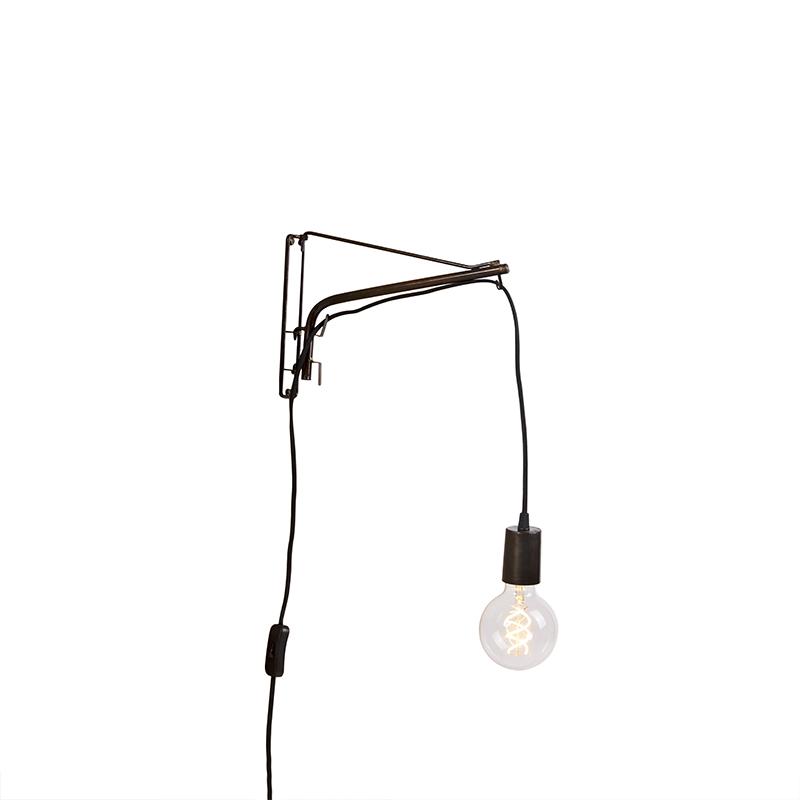 Vintage verstelbare wandlamp 30cm staal met zwart stoffen snoer - Hook