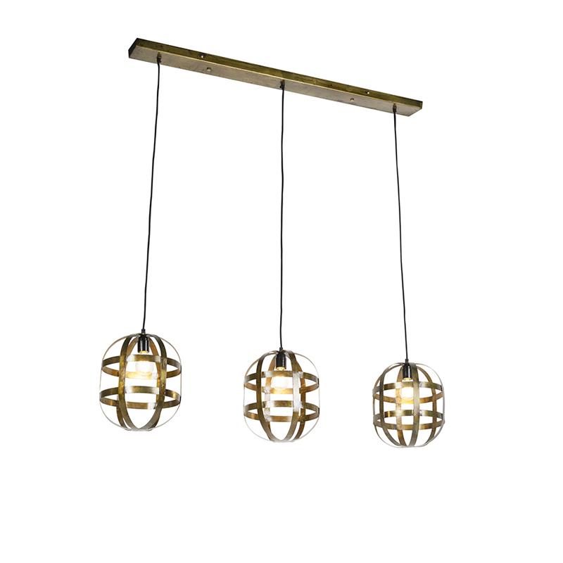 Industriele combinatie van 3 hanglampen roest aan rechte plaat - Fence