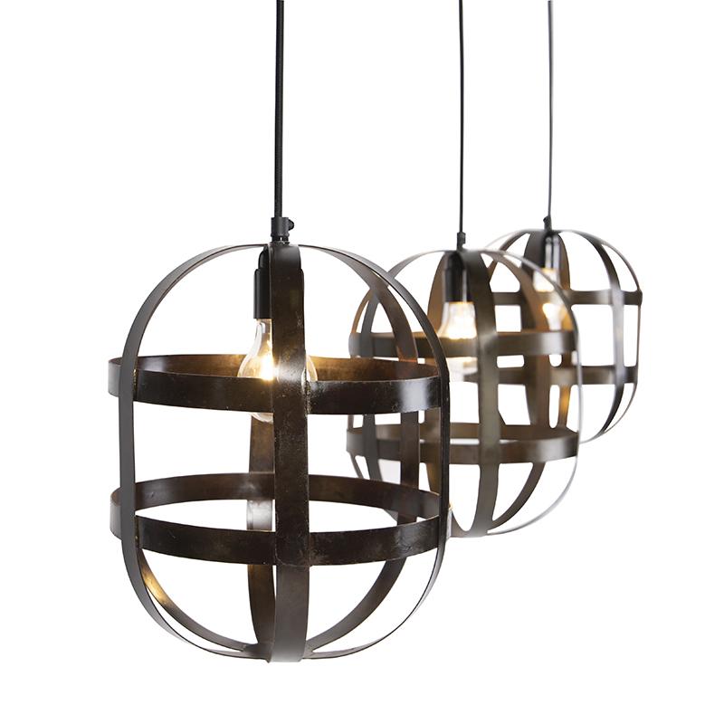 Industriele combinatie van 3 hanglampen staal aan rechte plaat - Fence