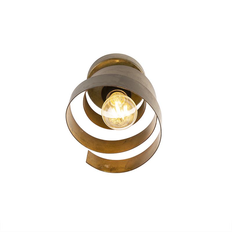 Vintage plafondlamp brons - Curl