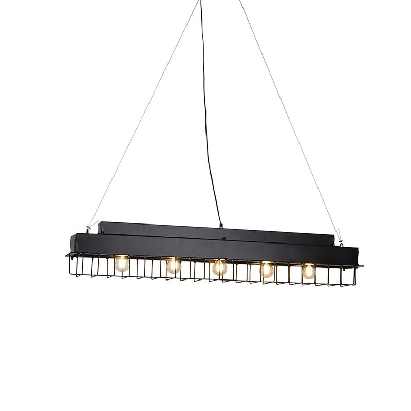 Industriele langwerpige hanglamp met rooster zwart - Field