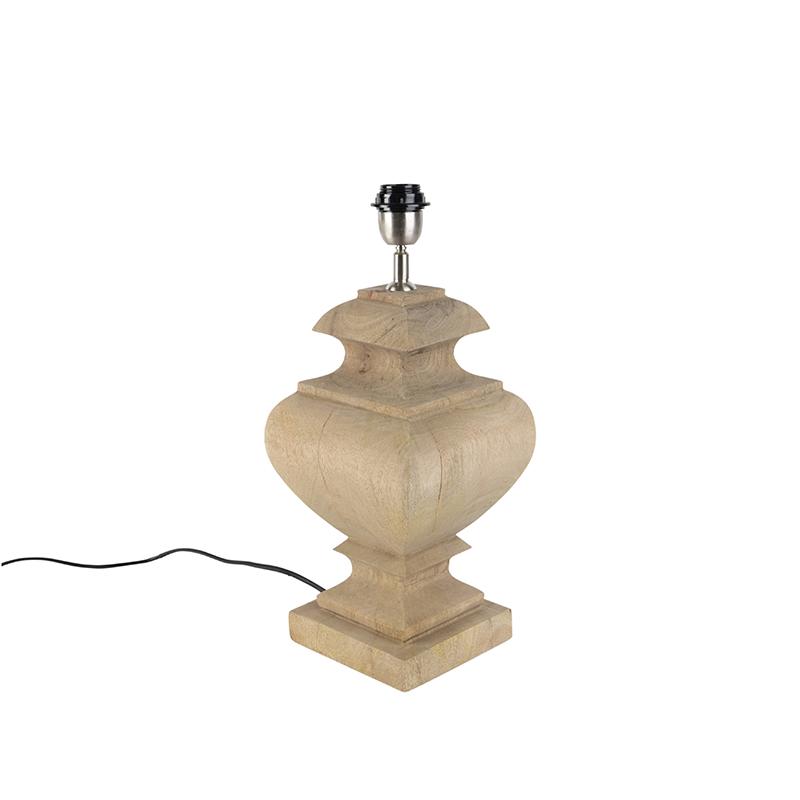 Landelijke tafellamp zonder kap naturel hout - Fern