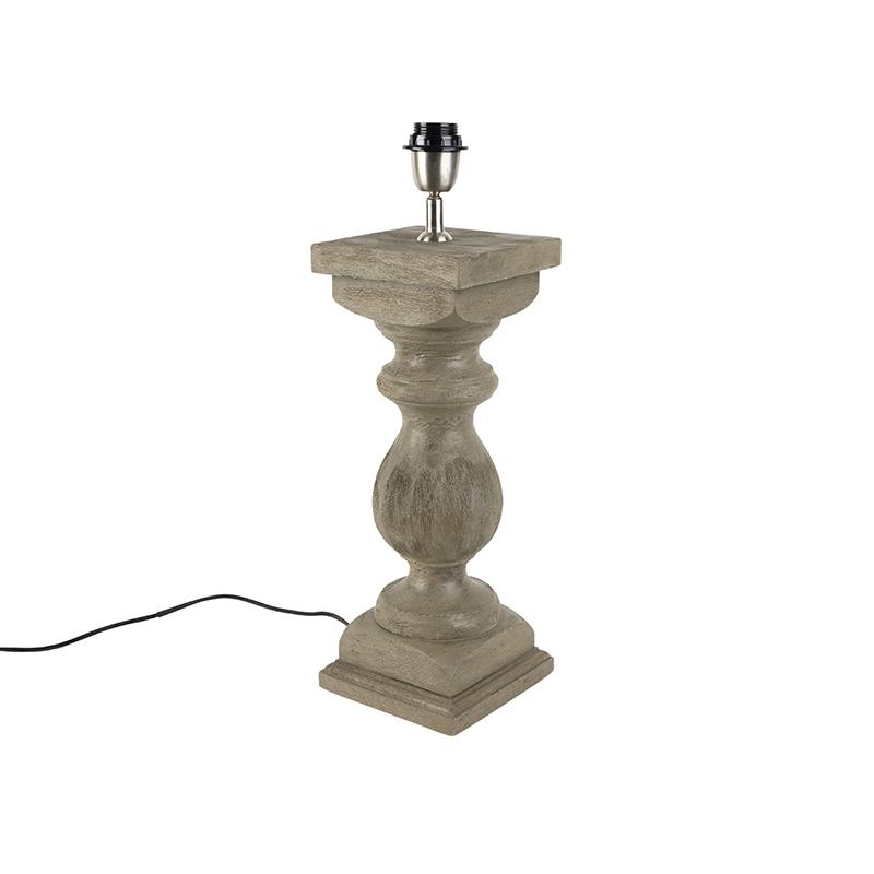 Landelijke tafellamp zonder kap vintage grijs hout - Hyssop
