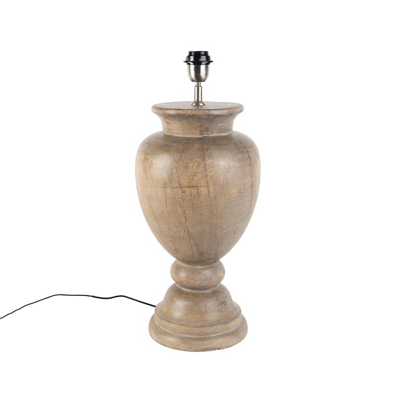 Landelijke tafellamp hout zonder kap - Clover