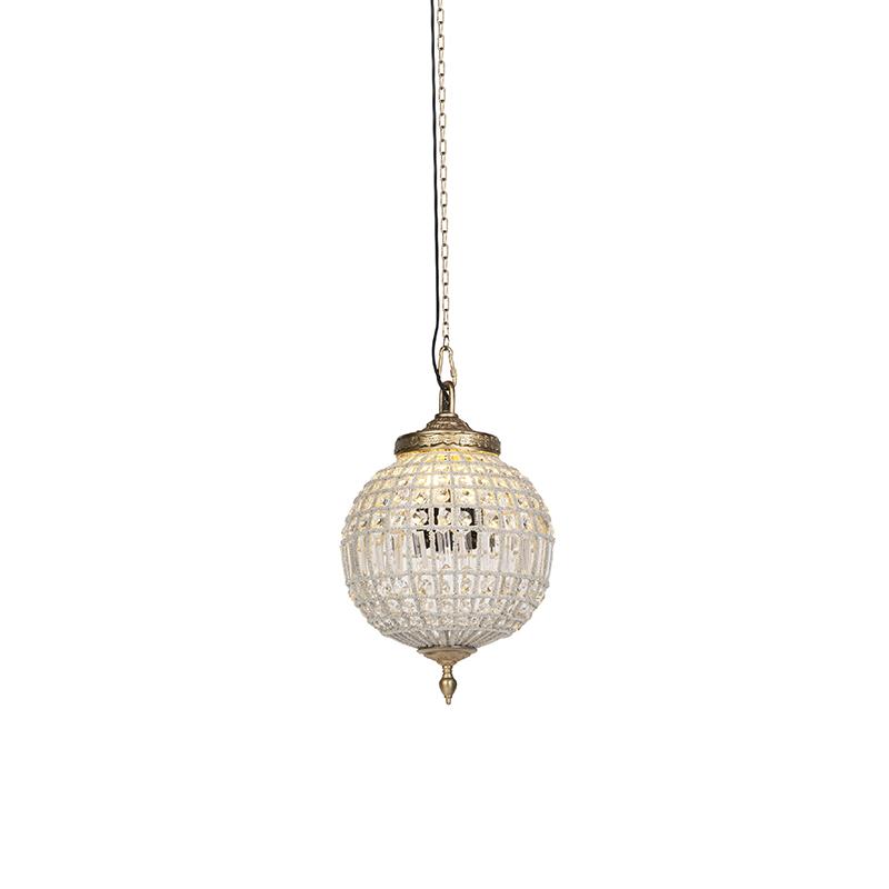 Art Deco hanglamp kristal met goud 35 cm - Kasbah