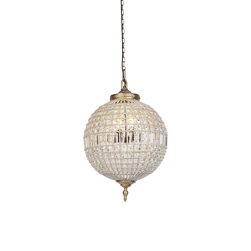 Art Deco hanglamp kristal met goud 50 cm - Kasbah