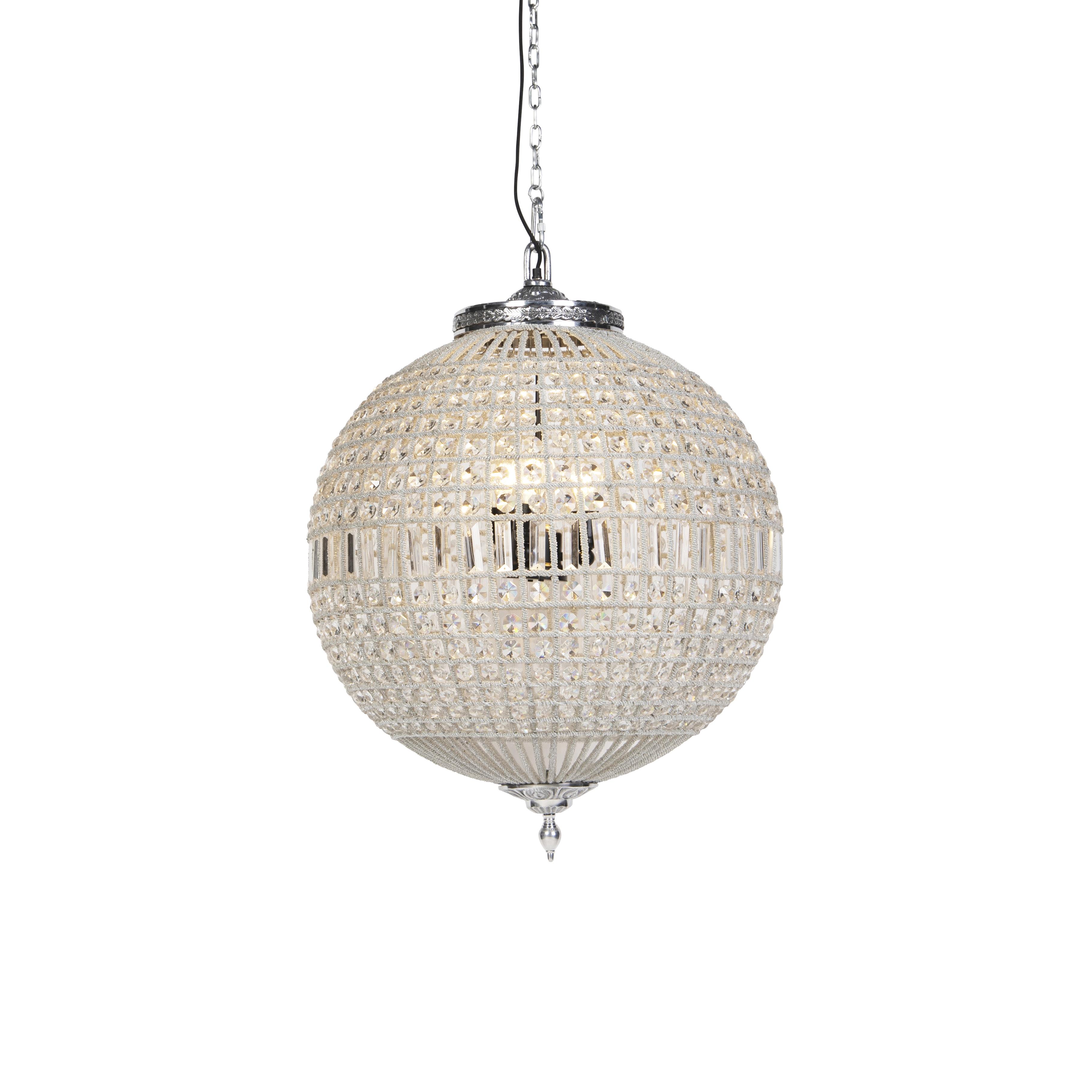 Art Deco hanglamp kristal 65cm zilver - Kasbah