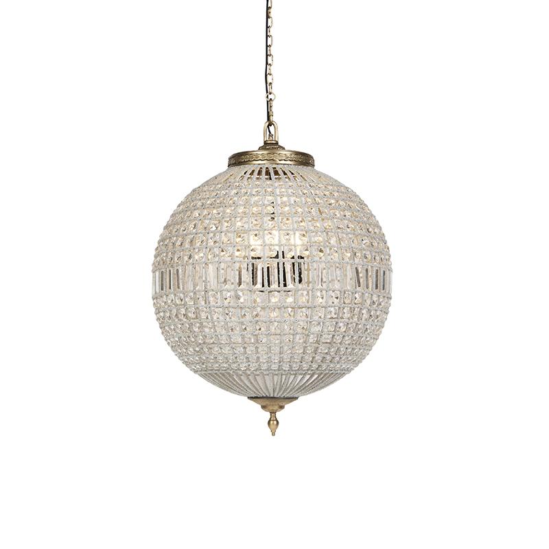 Art Deco hanglamp kristal met goud 65 cm - Kasbah