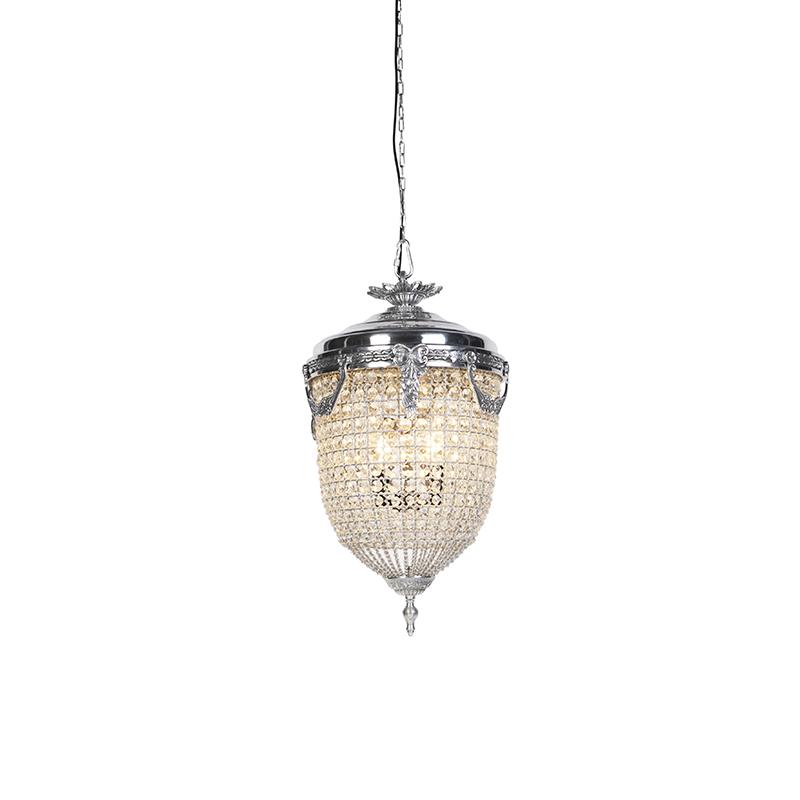Art Deco hanglamp kristal 40cm zilver - Cesar