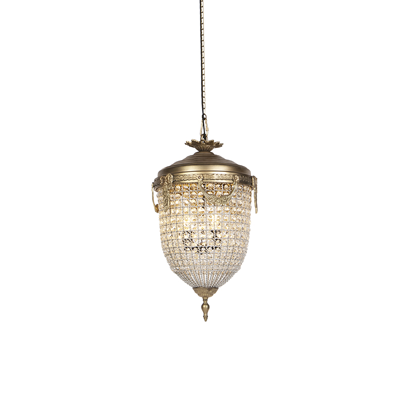 Art Deco hanglamp kristal 40cm goud - Cesar