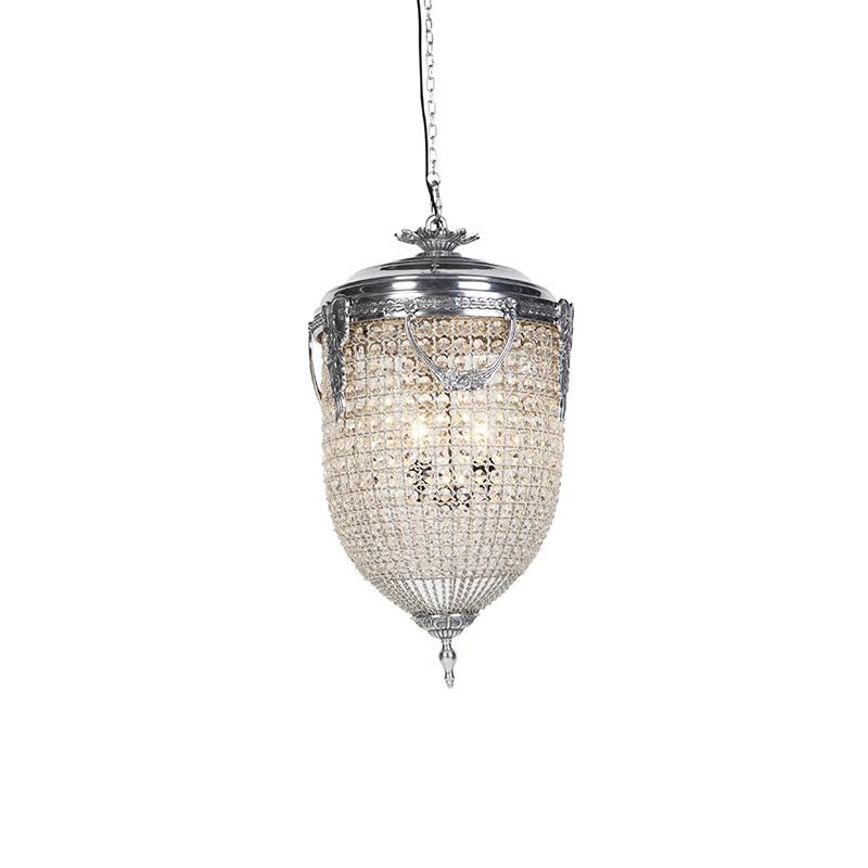 Vintage hanglamp kristal 45cm zilver - Cesar