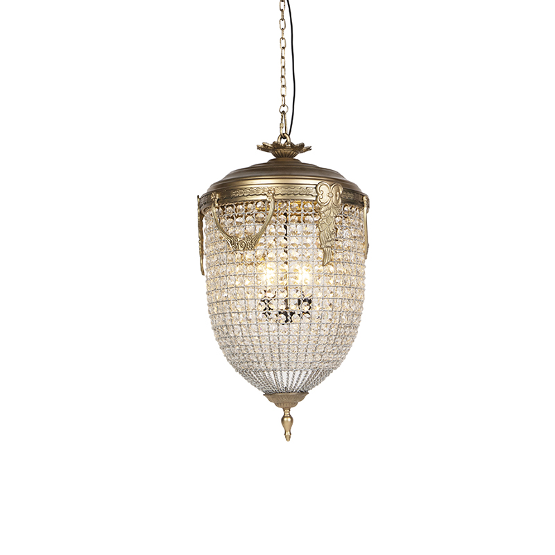 Vintage hanglamp kristal 45cm goud - Cesar