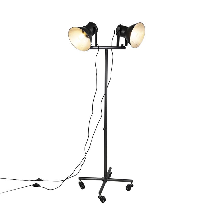 Industri�le vloerlamp antraciet 2-lichts - Mono