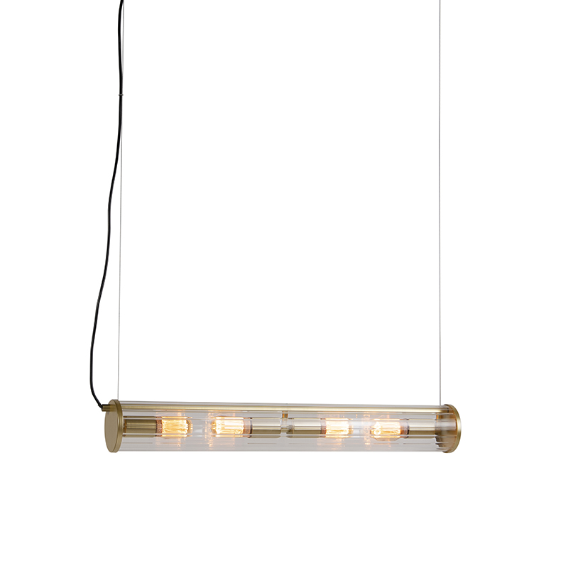 Vintage hanglamp messing 4-lichts met geribbeld glas - Costilla