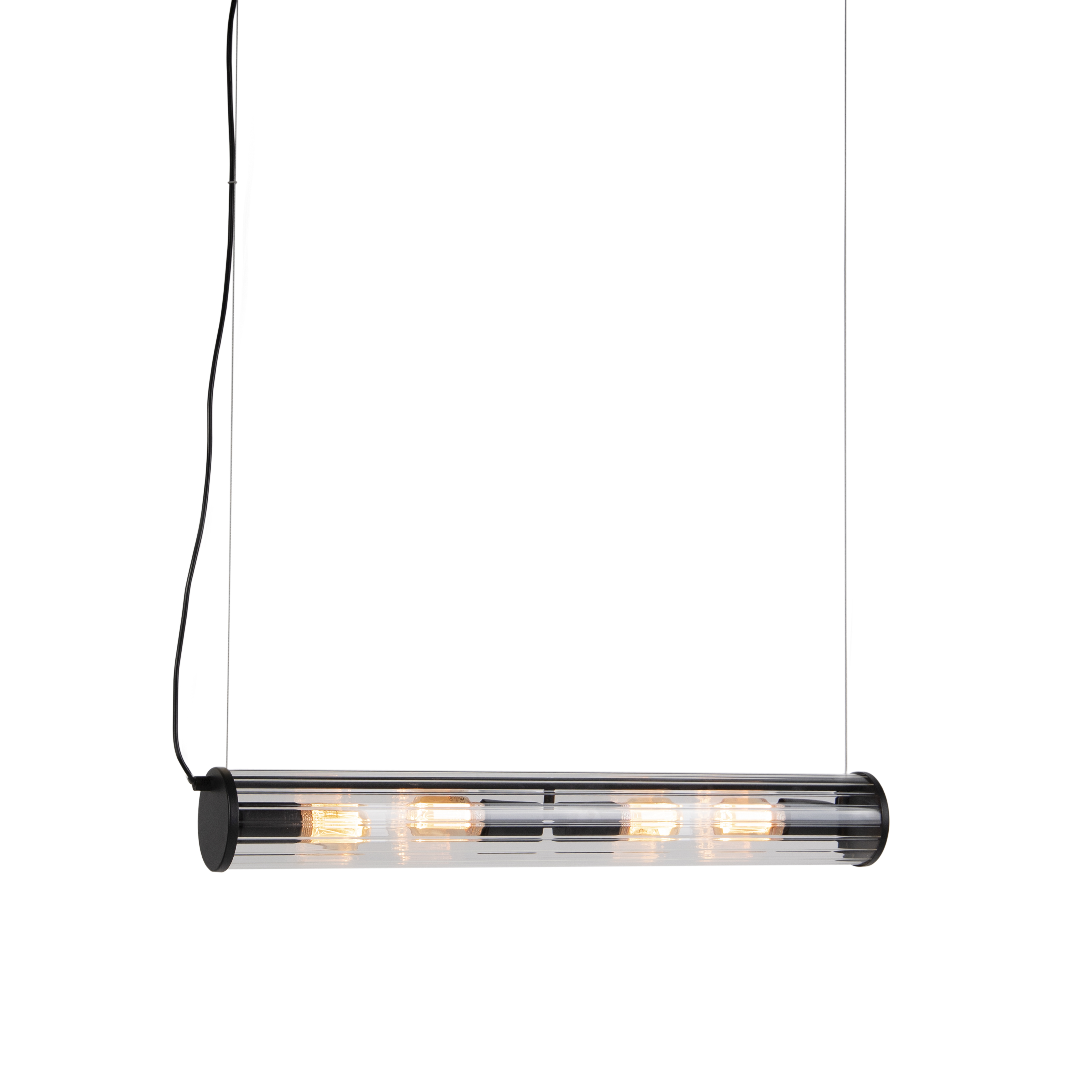 Vintage hanglamp zwart 4-lichts met geribbeld glas - Costilla
