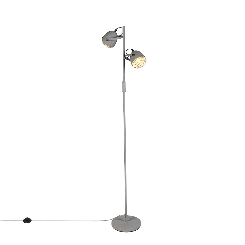 Industri�le verstelbare vloerlamp grijs 2-lichts - Rebus