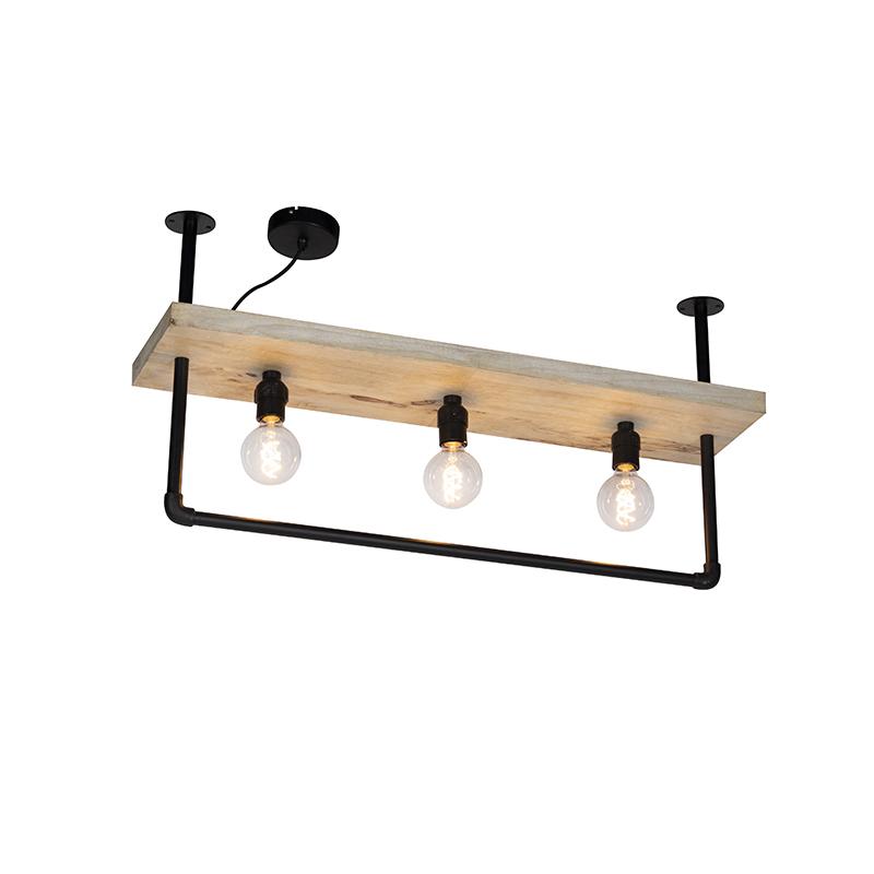 Industriele plafondlamp zwart met houten plank 3-lichts - Shelf