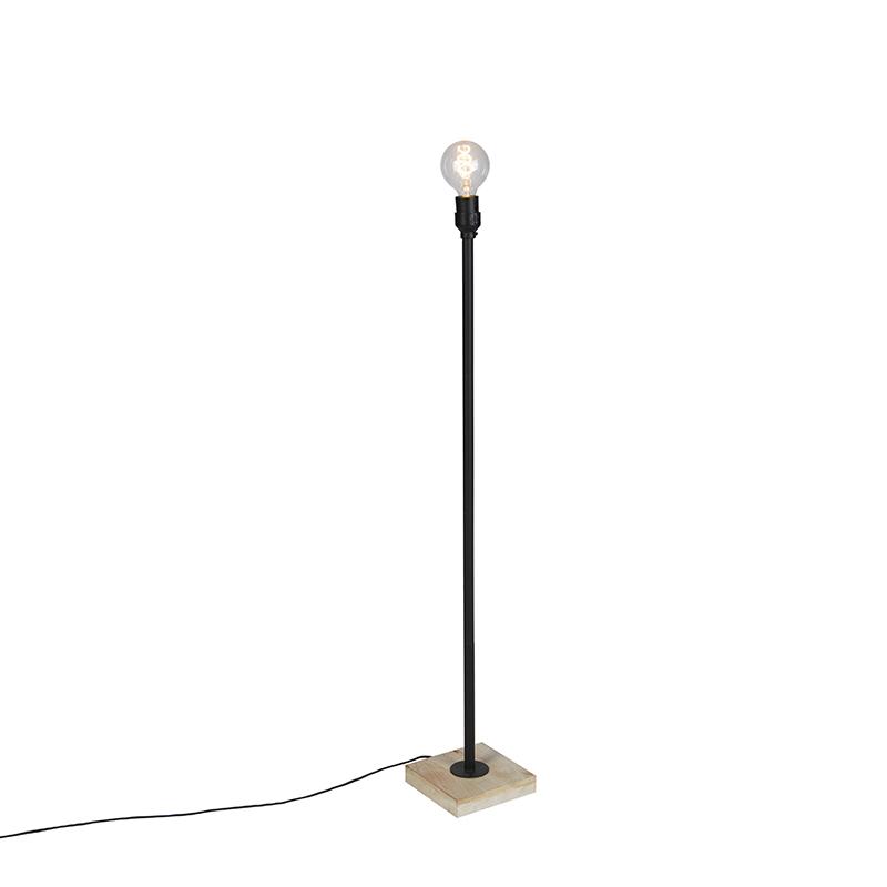 Industriele Vloerlamp Zwart Met Houten Voet Zonder Kap - Tub