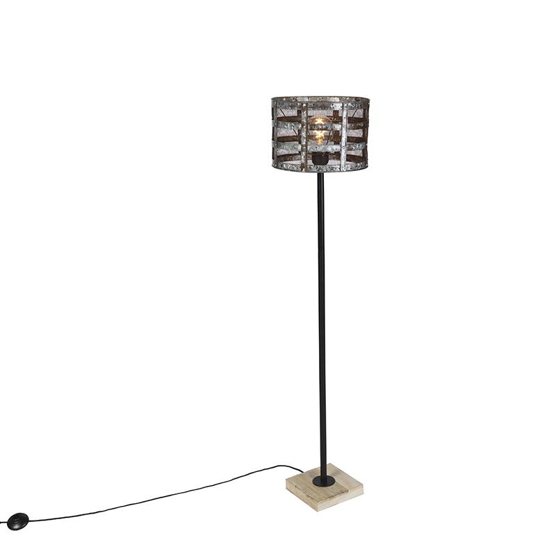 Industriele vloerlamp zwart met houten voet en roestkleurige kap - Tub