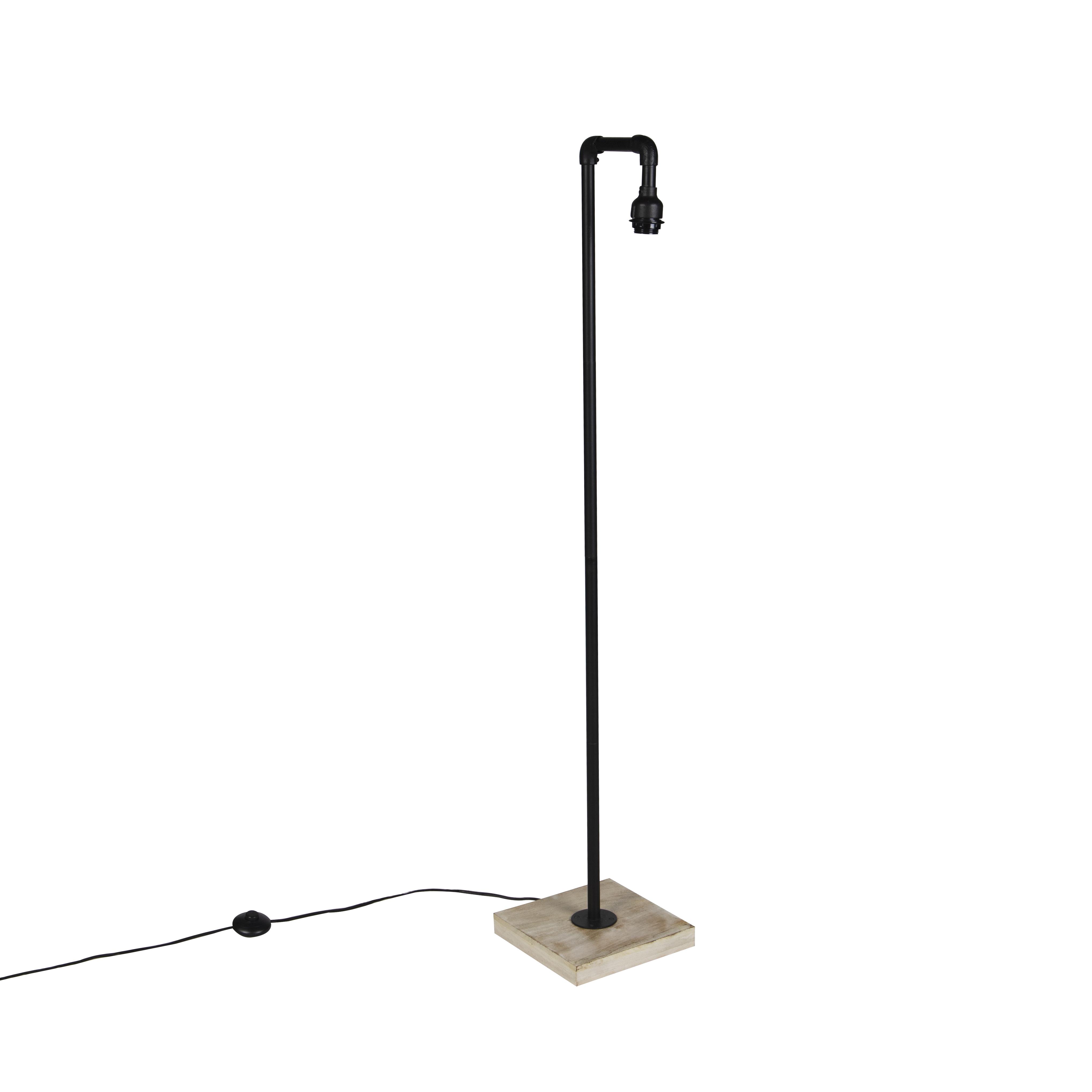 Industriele vloerlamp zwart met houten voet zonder kap - Tubs