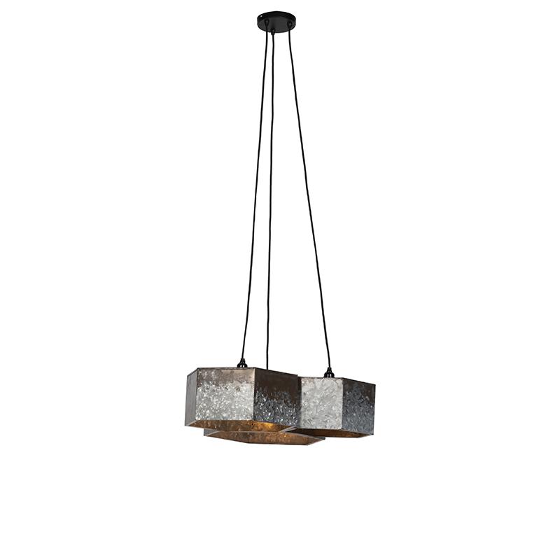 Vintage hanglamp roestkleurig 3-lichts - Comb