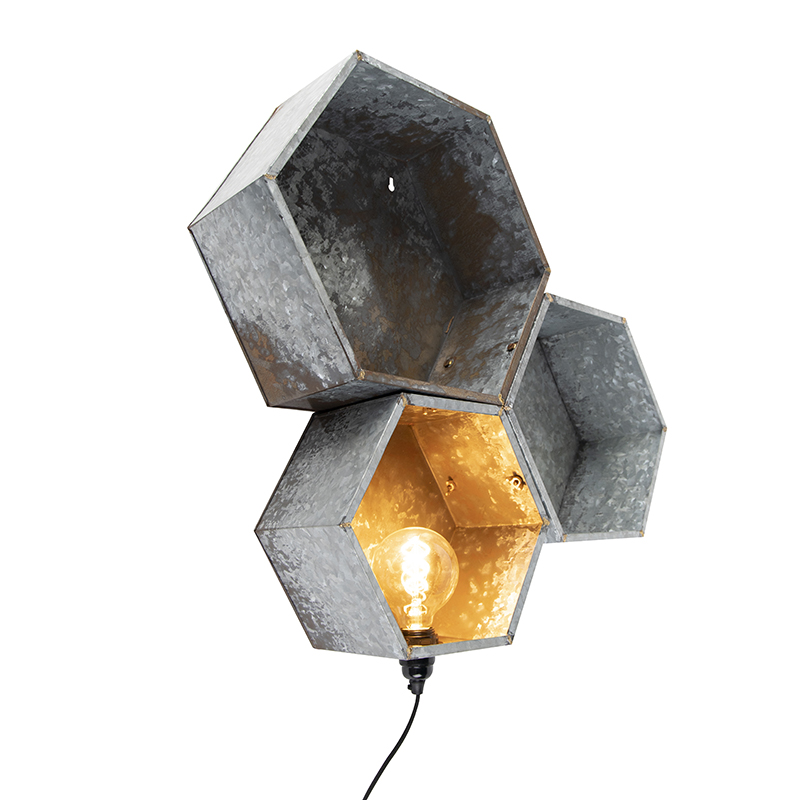 Industriële wandlamp roest 1-lichts - Comb