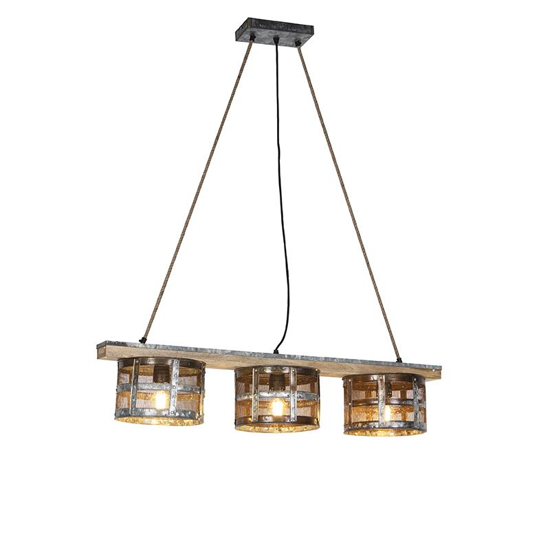 Vintage hanglamp roestkleurig 3-lichts aan houten plank - Tub