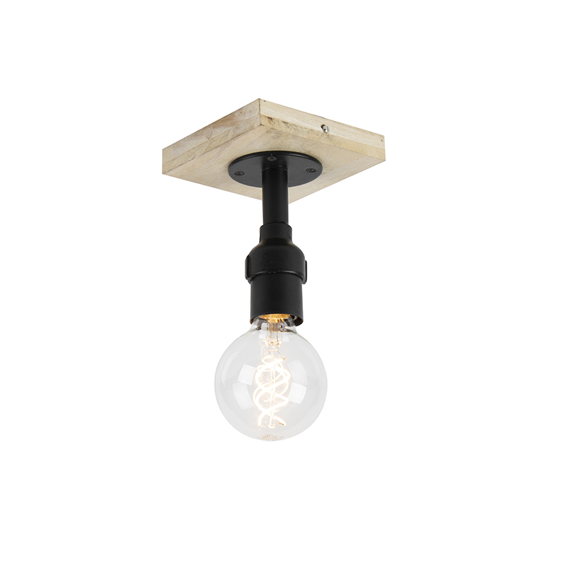 Plafondlamp zwart met hout zonder kap 1-lichts - Tubs