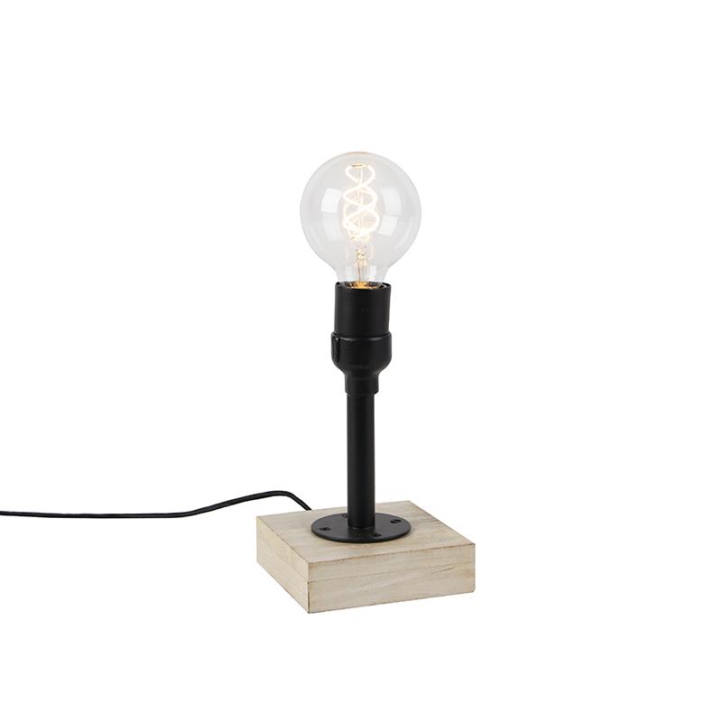 Industriele tafellamp zwart zonder kap 1-lichts met houten voet - Tubs