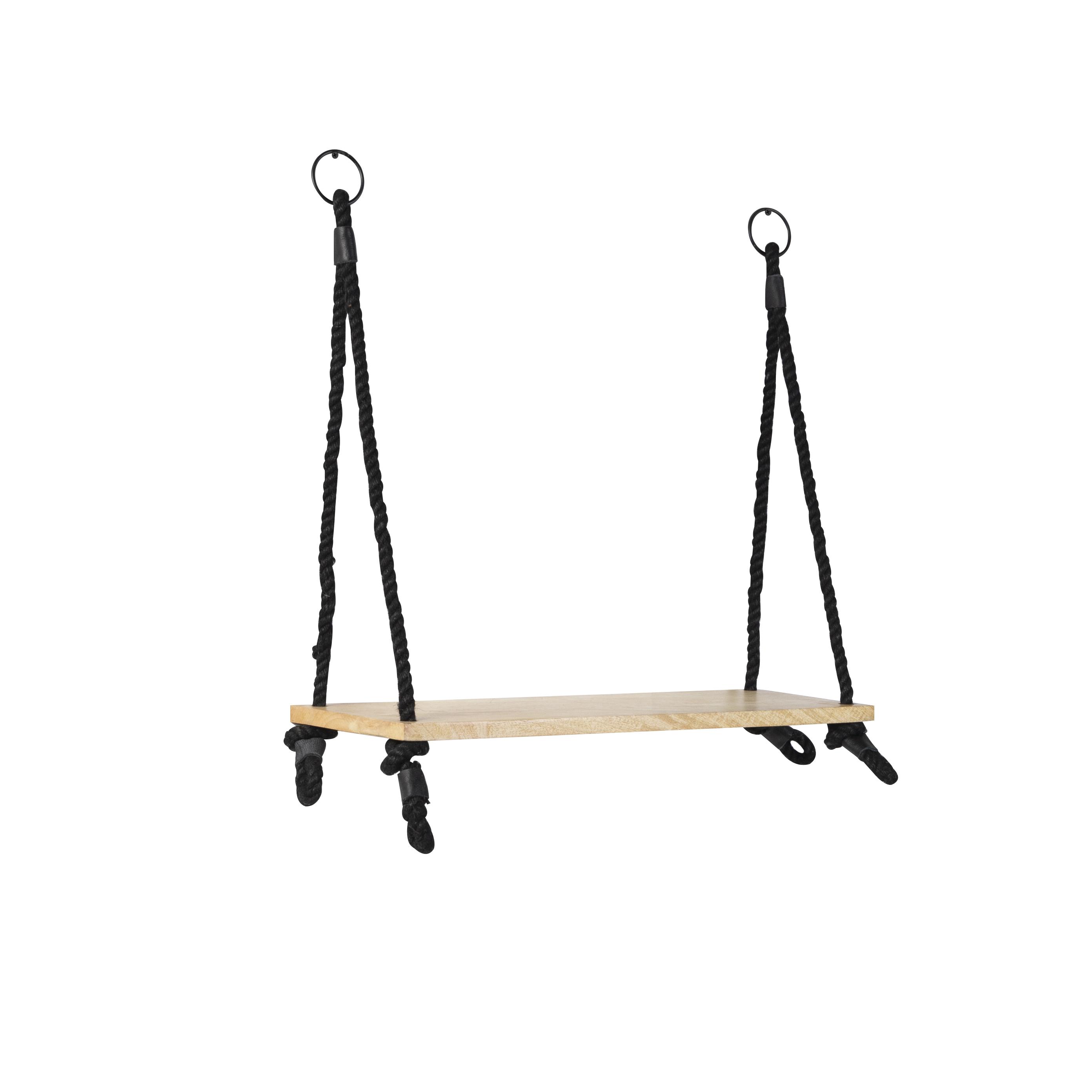 Industrieel Wandrek Met 1 Houten Plank En Zwart Touw - Swing