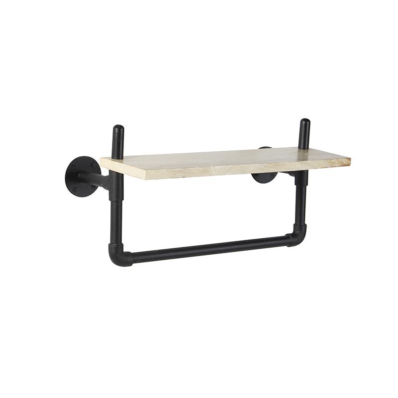 Industrieel wandrek met 1 houten plank en zwarte buizen - Tubs