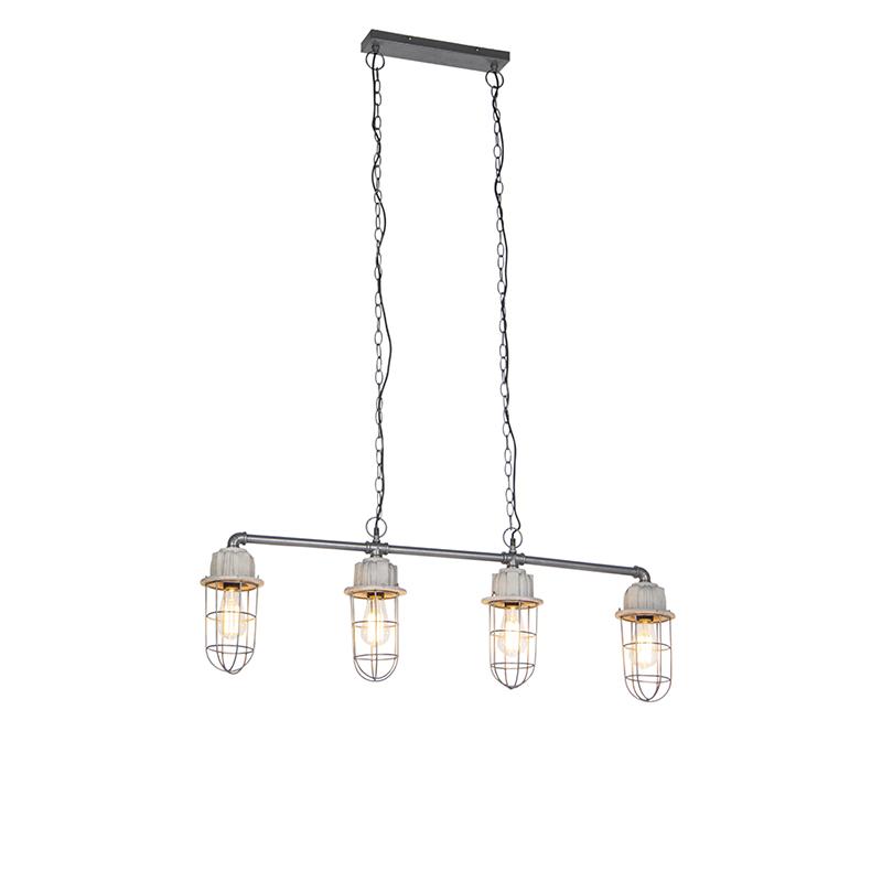 Industriële hanglamp beton 4-lichts - Mighty