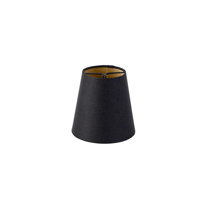 Bawełniana czapka zaciskowa czarna 12 cm okrągła ze złotym wnętrzem