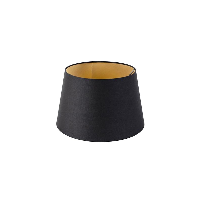 Kap 32cm rond DS E27 katoen zwart met gouden binnenkant