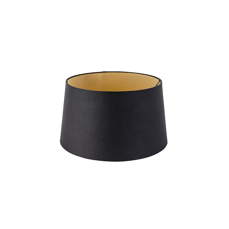 Kap 35cm rond DS E27 katoen zwart met gouden binnenkant