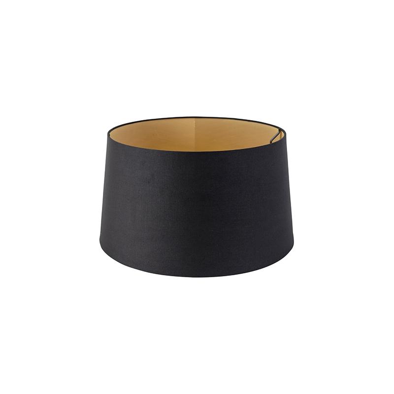 Kap 40cm rond DS E27 katoen zwart met gouden binnenkant