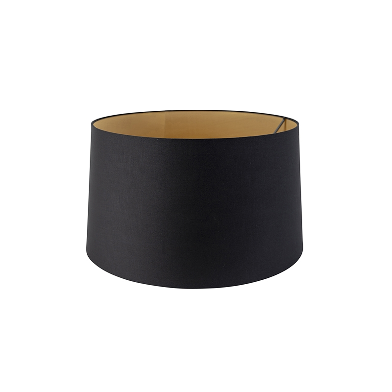 Kap 50cm rond DS E27 katoen zwart met gouden binnenkant