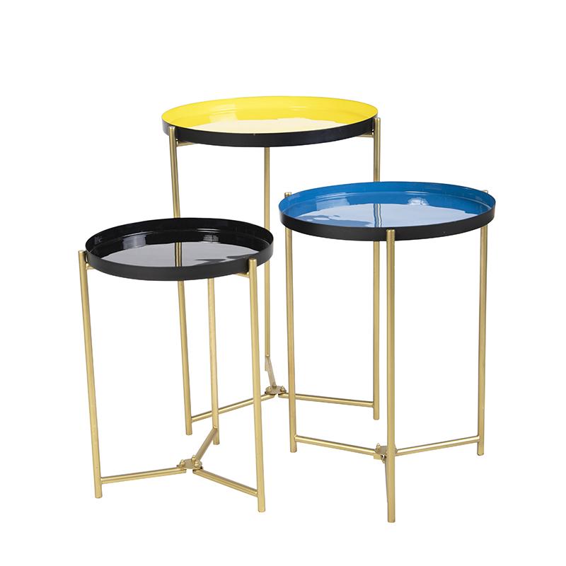Set Van 3 Bijzettafeltjes Geel  Blauw En Zwart In 3 Maten - Enamel