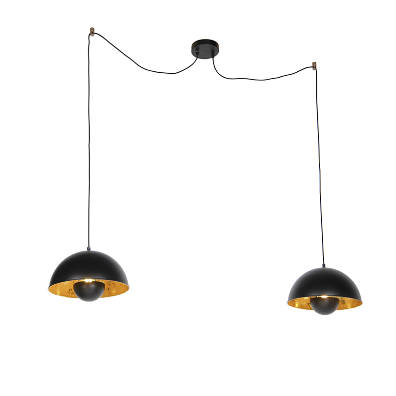 Industrialna lampa wisząca czarna ze złotym wnętrzem 2-źródła światła - Magna Eglip