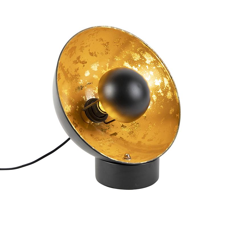 Industri�le tafellamp zwart met gouden binnenkant - Magna Eglip