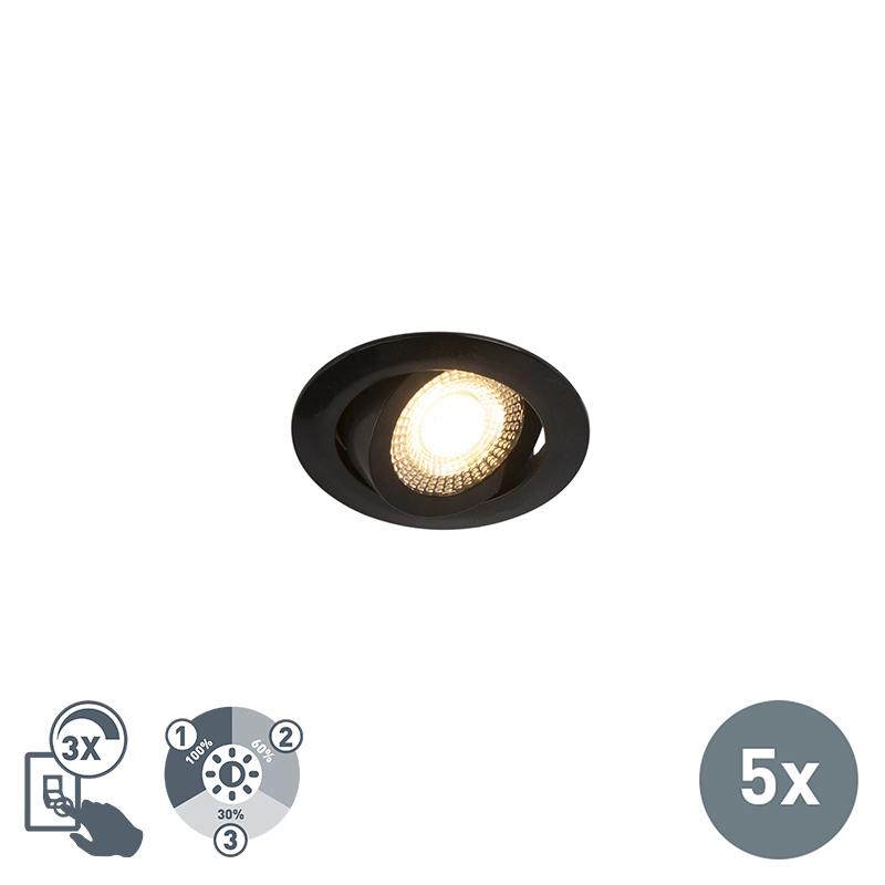 Set van 5 moderne LED inbouwspots zwart 3-staps dimbaar - Mio