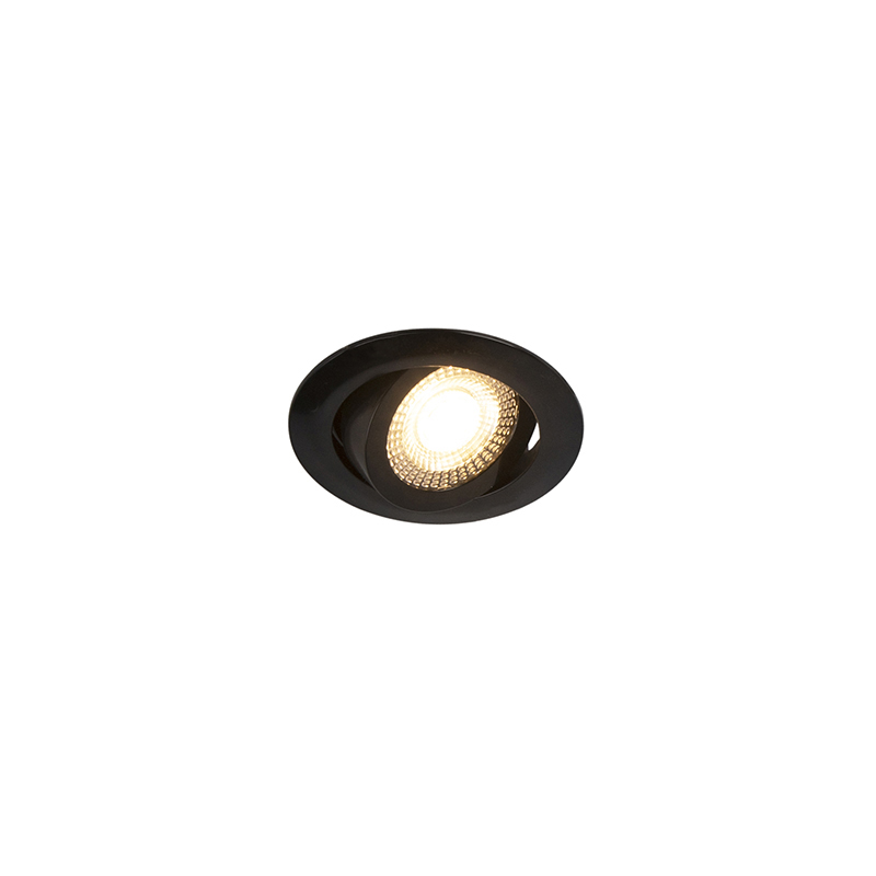 Set van 5 moderne inbouwspots zwart incl. LED 3-staps dimbaar - Mio