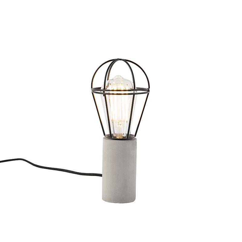 Industrialna lampa stołowa beton czarny - Edison