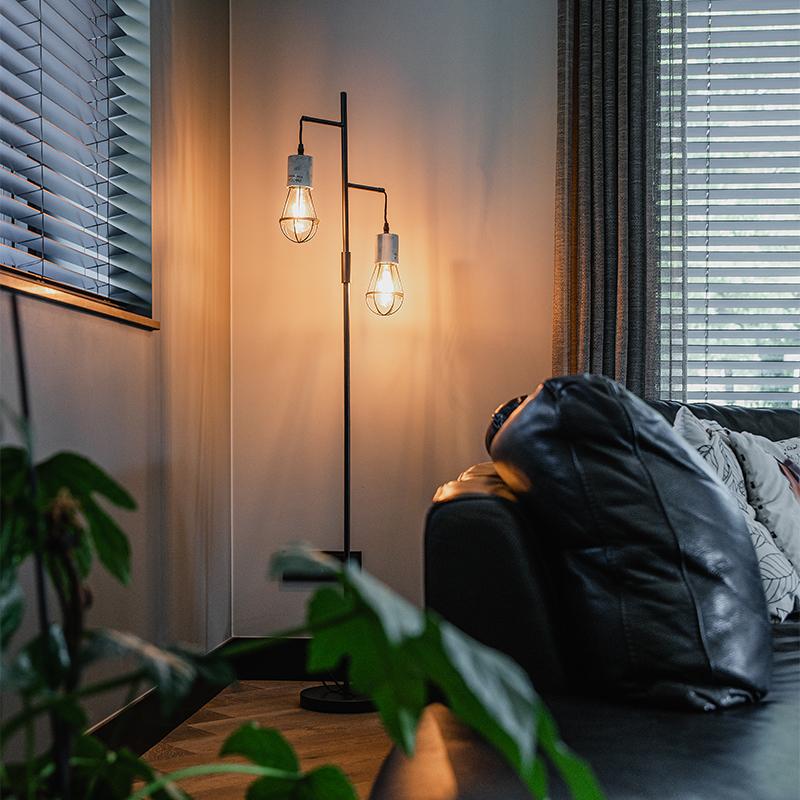 Industriele vloerlamp 2-lichts beton met zwart - Edison