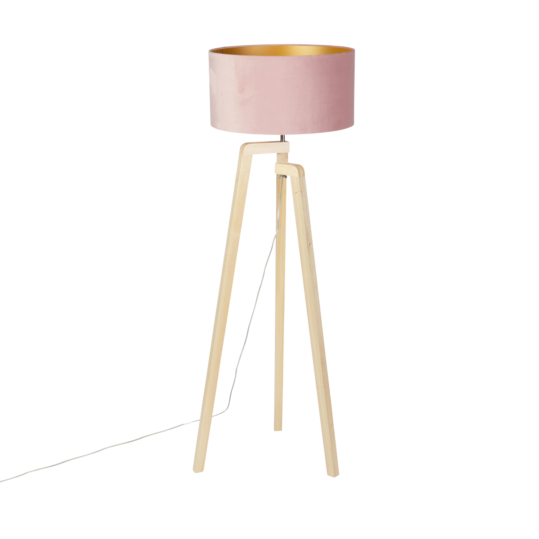 Vloerlamp tripod hout met roze velours kap 50 cm - Puros