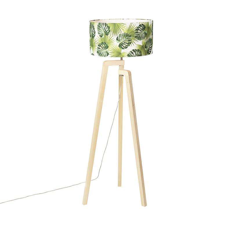Vloerlamp tripod hout met kap leaf - Puros