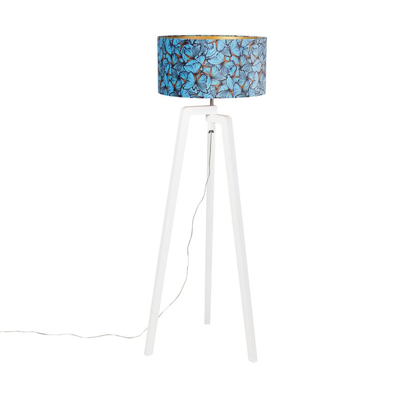 Vloerlamp tripod hout met vlinders velours kap 50 cm - Puros