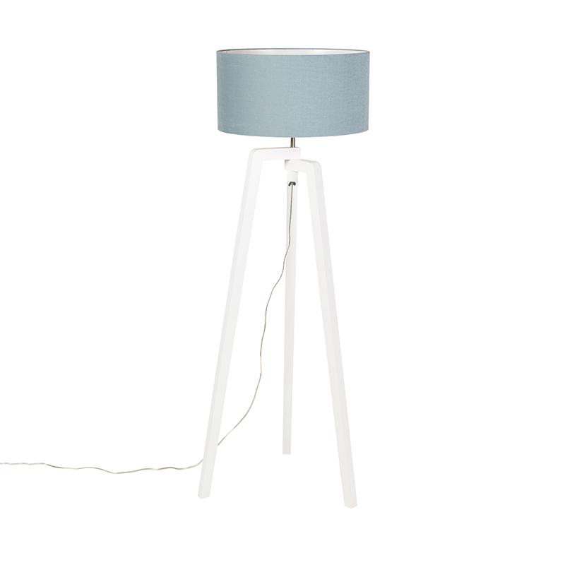 Lampa podłogowa trójnóg biała klosz niebieski 50cm - Puros
