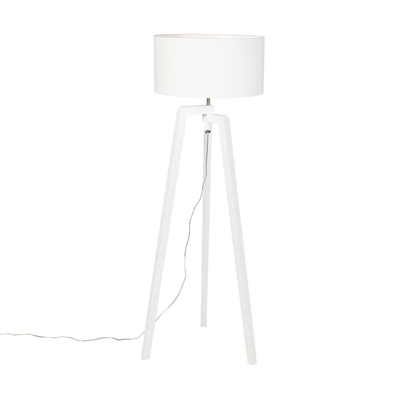 Vloerlamp tripod wit hout met witte kap 50 cm - Puros
